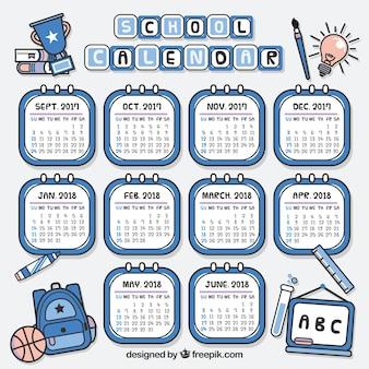 Calendario scolastico disegnato a mano con stile moderno