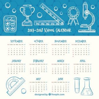 Calendario scolastico disegnato a mano con stile scientifico