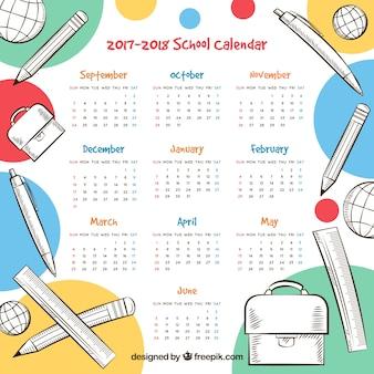 Calendario scolastico divertente con materiali disegnati a mano