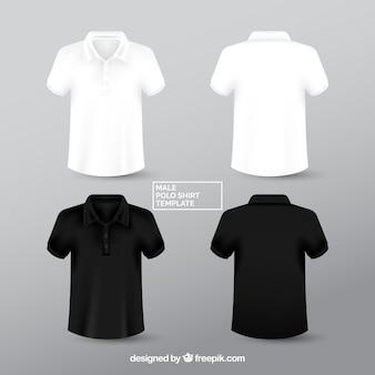 Camicia di polo maschio in bianco e nero templante