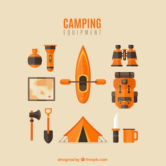 Canoa con elementi di avventura in design piatto