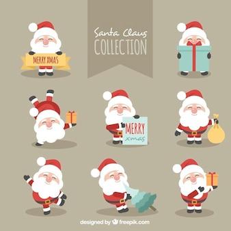 Carattere pacchetto fantastico di sorridente Babbo Natale