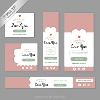 Carino banner valentine pacchetto