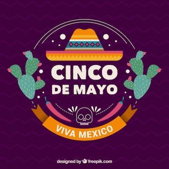 Carino maggio cinque sfondo con cappello messicano e cactus