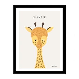 Carino mano Giraffa design disegnato