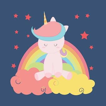 Carino unicorno, vettore arcobaleno