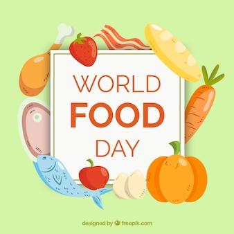 Carne, pesce, pane e verdure su sfondo verde chiaro