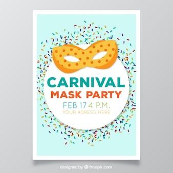 Carnevale volantino con maschera