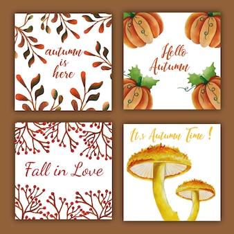 Carta d'autunno ad acquerello con foglie rosse, arancioni, gialle e verdi