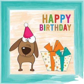Carta di compleanno infantile con cane divertente