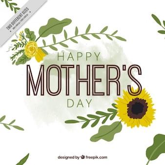 carta di giorno della madre felice con il girasole
