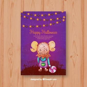 Carta di Halloween con la ragazza che porta una mascherina creepy