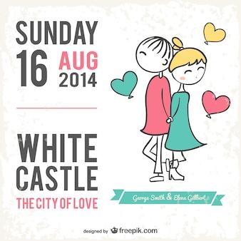 Carta di nozze stile cartone animato