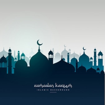 Carta di ramadan saluto kareem con moschee