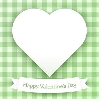 Carta di San Valentino con sfondo verde a scacchi