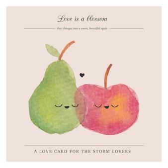 Carta frutti carino in stile acquerello