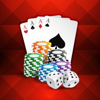Carte da gioco con le monete del casinò e dadi