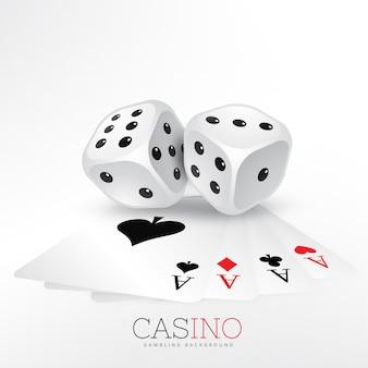Carte da gioco di casinò con due dadi