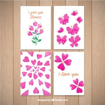 carte di cuori e acquerello buttlerflies