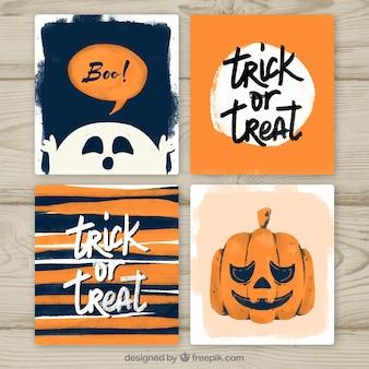Carte di Halloween con lo stile dell'acquerello