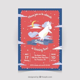 Cartolina di compleanno rosso con unicorno