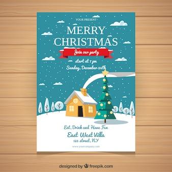 Cartolina di Natale con il paesaggio invernale