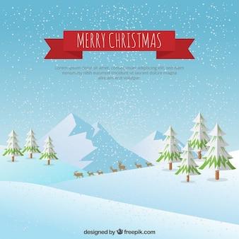 Cartolina di Natale con paesaggio invernale
