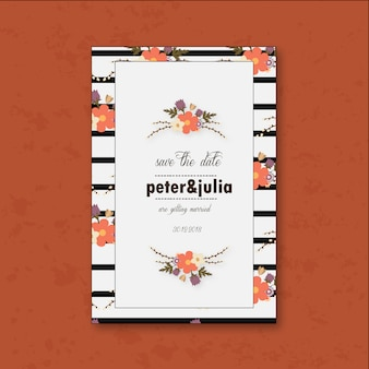 Cartolina di nozze bianca con fiori