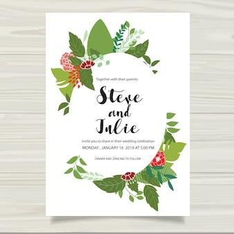 Cartolina di nozze bianca con foglie verdi