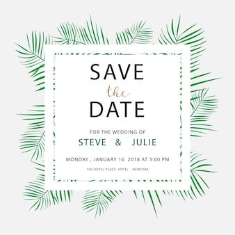 Cartolina di nozze bianca con foglie