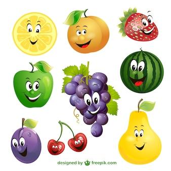 cartone animato di frutta vettore di espressione