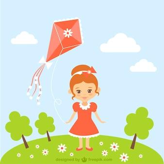 Cartone animato ragazza con aquilone