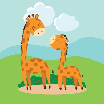 Cartoon carina giraffa. Vettore