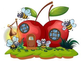Casa di ciliegi e molte api che volano