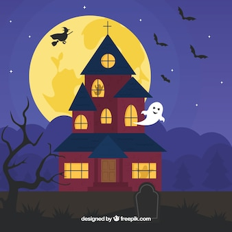 Casa di Halloween con gli elementi classici