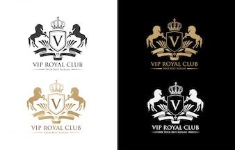 Cavalli Lettera Crest con scudo e Corona per Hotel, Finanza, Club sportivo, logo di lusso