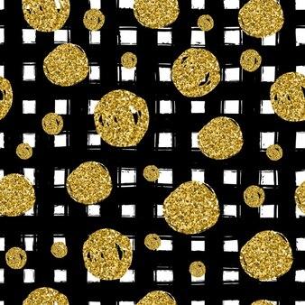 Cerchi d'oro su nero mano linea tracciata Trendy uso seamless nel celebrare il design illustrazione vettoriale