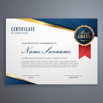Certificato creativo del modello premio apprezzamento con forme blu e oro e distintivo