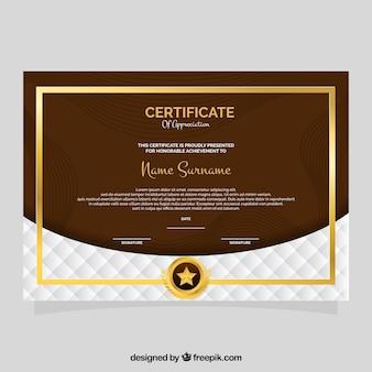 Certificato di apprezzamento con cornice dorata e linee ondulate
