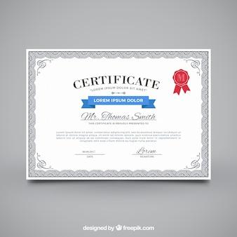 Certificato di apprezzamento con cornice ornamentale