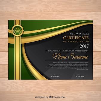 Certificato di apprezzamento con dettagli in verde