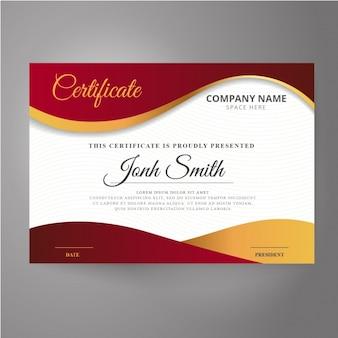 Certificato di rosso e oro