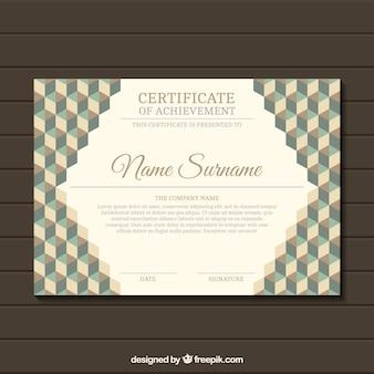 Certificato geometrica elegante in stile retrò