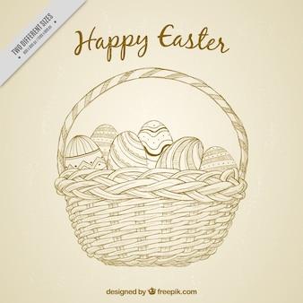Cesto Vintage sfondo con disegnati a mano le uova di Pasqua