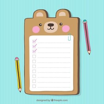 Checklist decorativo con simpatico orso