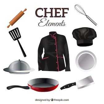 Chef uniforme con utensili da cucina