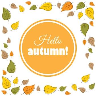 Ciao autunno! Illustrazione vettoriale.
