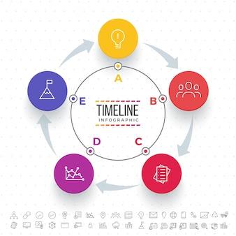 Cinque fasi, layout Timeline Infographics con icone impostate, in versione in bianco e nero e colorato.