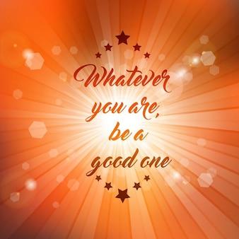 Citazione Inspirational su uno sfondo starburst