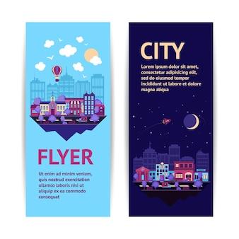 Città notturna scape notte e giorno città architettura verticale banner impostato isolato illustrazione vettoriale